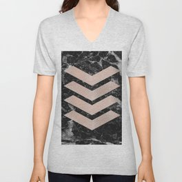 Black marble & rose gold chevrons Unisex V-Neck