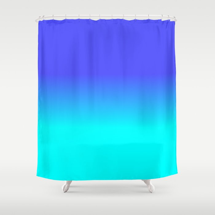 Neon Blue and Bright Neon Aqua Ombré Shade Color Fade Shower Curtain
