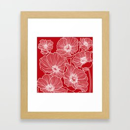 Holly Berry Red Poppies Drawing Framed Art Print