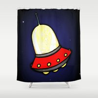 spaceship Shower Curtains featuring Spaceship by Caroline Blicq