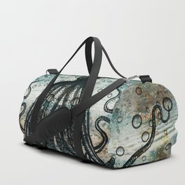 Octopus In Stormy Water Duffle Bag