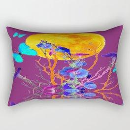 BLUE BUTTERFLIES & MOON WATER GARDEN  REFLECTION Rectangular Pillow