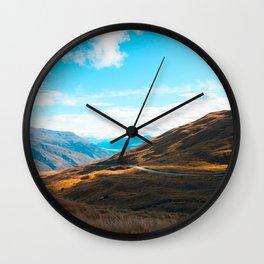 Western Landscape Orange Grass Fields Mountain Canyon Wall Clock