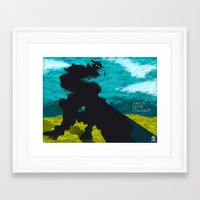 shadow of the colossus Framed Art Prints featuring Shadow Of The Colossus Minimalist Cloudy Poster by LoweakGraph