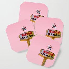 Atomic Pink Starburst - Vintage Googie-Style Sign with Pink Background Coaster