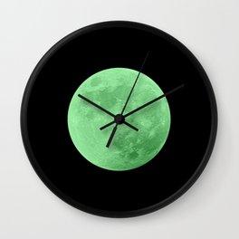 LIME MOON // BLACK SKY Wall Clock