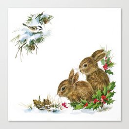 Winter in the forest - Animal Bunny Illustration Canvas Print
