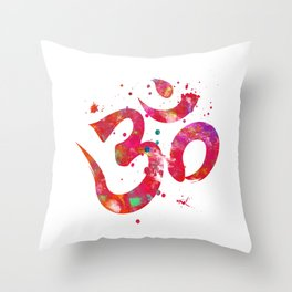 Colorful Om Symbol Throw Pillow