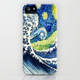 Tardis Flying Wave Night iPhone Case
