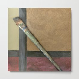 Artist Brush On Abstract Copper Canvas Artwork - Vintage - Modern Art - Painter Metal Print