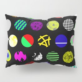 Eclectic Circles - Abstract collage of random, colourful, bold, eclectic circles Pillow Sham