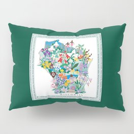 Wisconsin Wildflowers with border Pillow Sham