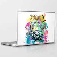 psychadelic Laptop & iPad Skins featuring Tiger Splash by Geo Law