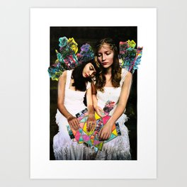 Two young hearts overwhelmed by world issues Art Print