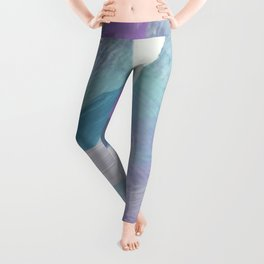 brush painting texture abstract background in purple green black Leggings