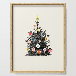 Retro Decorated Christmas Tree Serving Tray