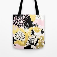 coachella Tote Bags featuring Simone - abstract painting gold foil trendy hipster pastel pink modern trendy colors decor college by CharlotteWinter