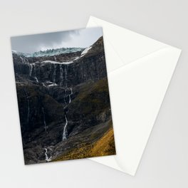 Icy Mountain Waterfall Landscape Stationery Cards
