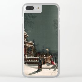 Christmas vintage  illustration Clear iPhone Case