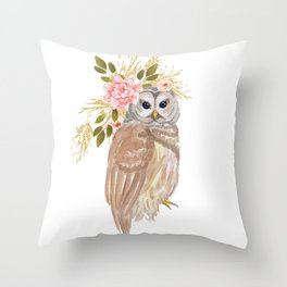 Owl with flower crown Throw Pillow