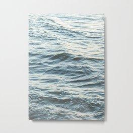 Calm Blue Ocean Waves Photo | Peaceful Sea Travel Photography Wall Art Print In Holland Europe Metal Print