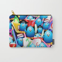 Back to School Cute Blue Birds Carry-All Pouch