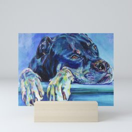 Rottie dog waiting patiently for loved one Mini Art Print