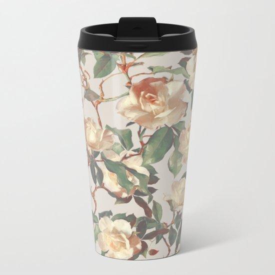 Soft Vintage Rose Pattern Metal Travel Mug