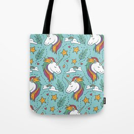 Magical Unicorn Pattern on turquoise background Tote Bag