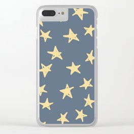 Vintage Stars on Blue Clear iPhone Case