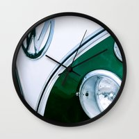 vw bus Wall Clocks featuring bus by LOPP
