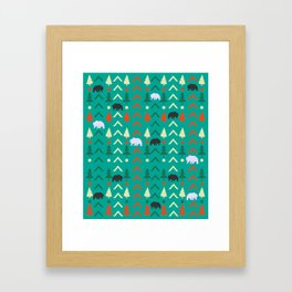 Winter bear pattern in green Framed Art Print