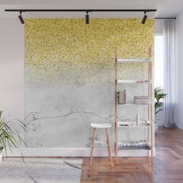 Gold Glitter and Grey Marble texture Wall Mural