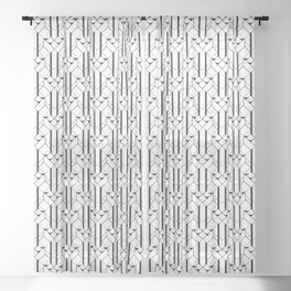 White and Black Vintage Art Deco Geometric Linear Repeat Pattern Sheer Curtain