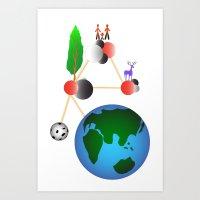 World Molecule Art Print