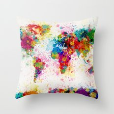 Map of the World Map Paint Splashes Throw Pillow