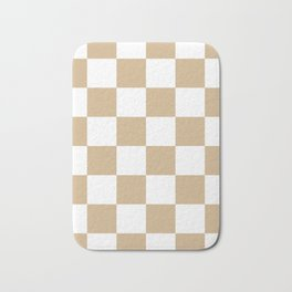 Large Checkered - White and Tan Brown Bath Mat