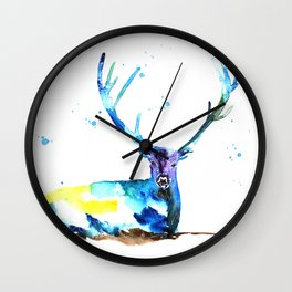 WATERCOLOR STAG PAINTING ORIGINAL Wall Clock