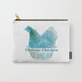 Animals in vintage bowls: Chicken Carry-All Pouch
