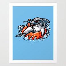 summer pool shark Art Print