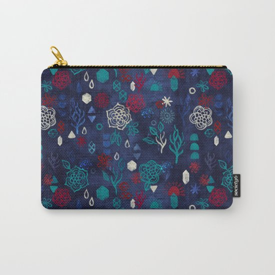 Elements - a watercolor pattern in red, cream & navy blue Carry-All Pouch