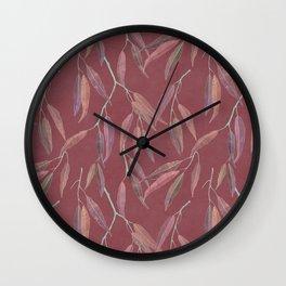 Eucalyptus leaves on marsala Wall Clock