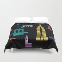 new york skyline Duvet Covers featuring New York Skyline Black by Christopher Dina
