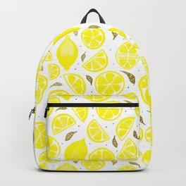 Lemons and gold leaves Backpack