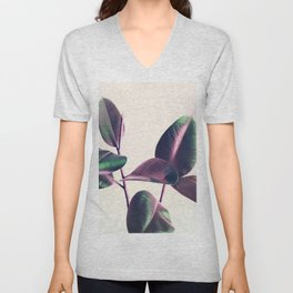 Pink and Green Iridescent Leaves Unisex V-Neck