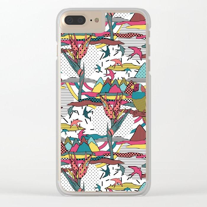 Pop art memphis 80's bird print Clear iPhone Case