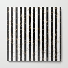 Black and White Stripes Gold Geometric Pattern Metal Print