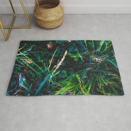 green leaves plant texture background Rug