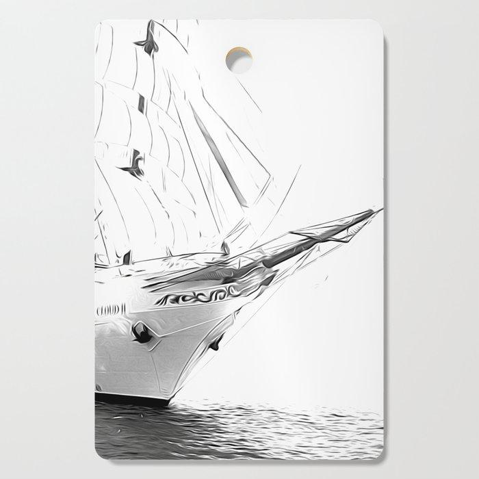 Black and White Sailboat Cutting Board