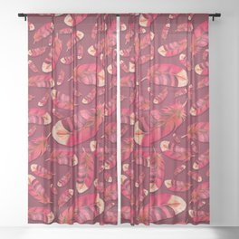 """Strawberry feather pattern"" Sheer Curtain"